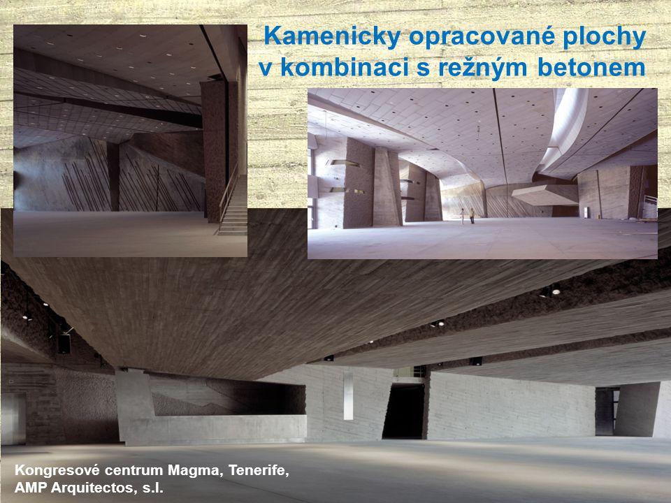 Kamenicky opracované plochy v kombinaci s režným betonem Kongresové centrum Magma, Tenerife, AMP Arquitectos, s.l.