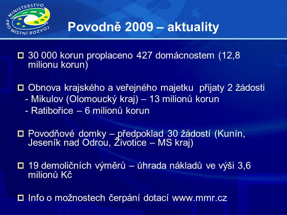 Povodně 2009 – aktuality 30 000 korun proplaceno 427 domácnostem (12,8 milionu korun) Obnova krajského a veřejného majetku přijaty 2 žádosti - Mikulov