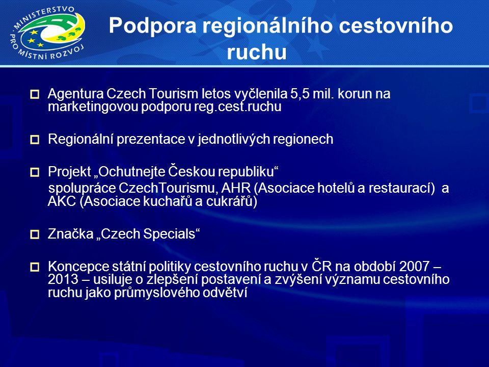 Podpora regionálního cestovního ruchu Agentura Czech Tourism letos vyčlenila 5,5 mil. korun na marketingovou podporu reg.cest.ruchu Regionální prezent