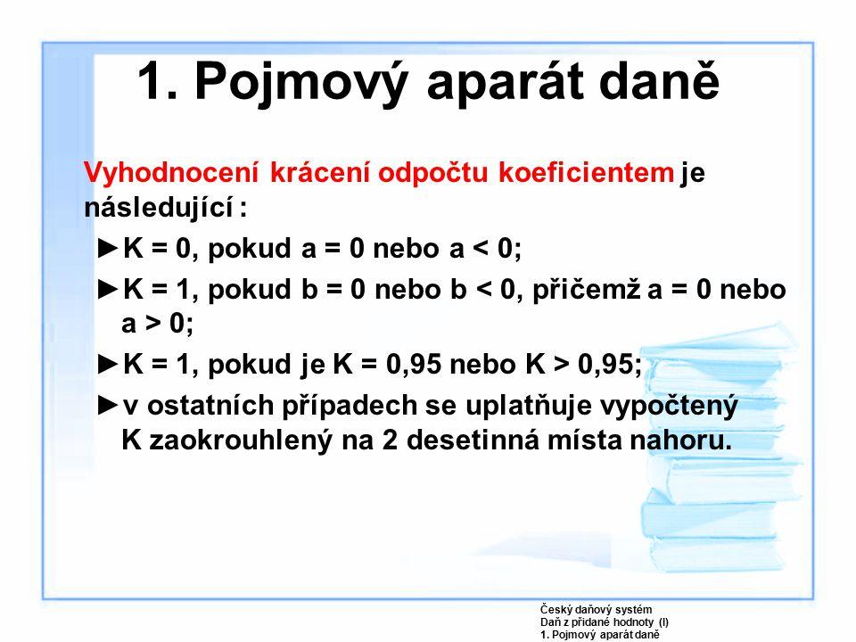 Vyhodnocení krácení odpočtu koeficientem je následující : ►K = 0, pokud a = 0 nebo a < 0; ►K = 1, pokud b = 0 nebo b 0; ►K = 1, pokud je K = 0,95 nebo