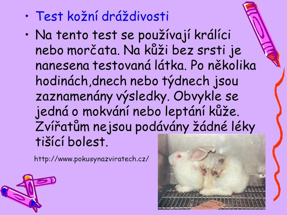Test kožní dráždivosti Na tento test se používají králíci nebo morčata. Na kůži bez srsti je nanesena testovaná látka. Po několika hodinách,dnech nebo