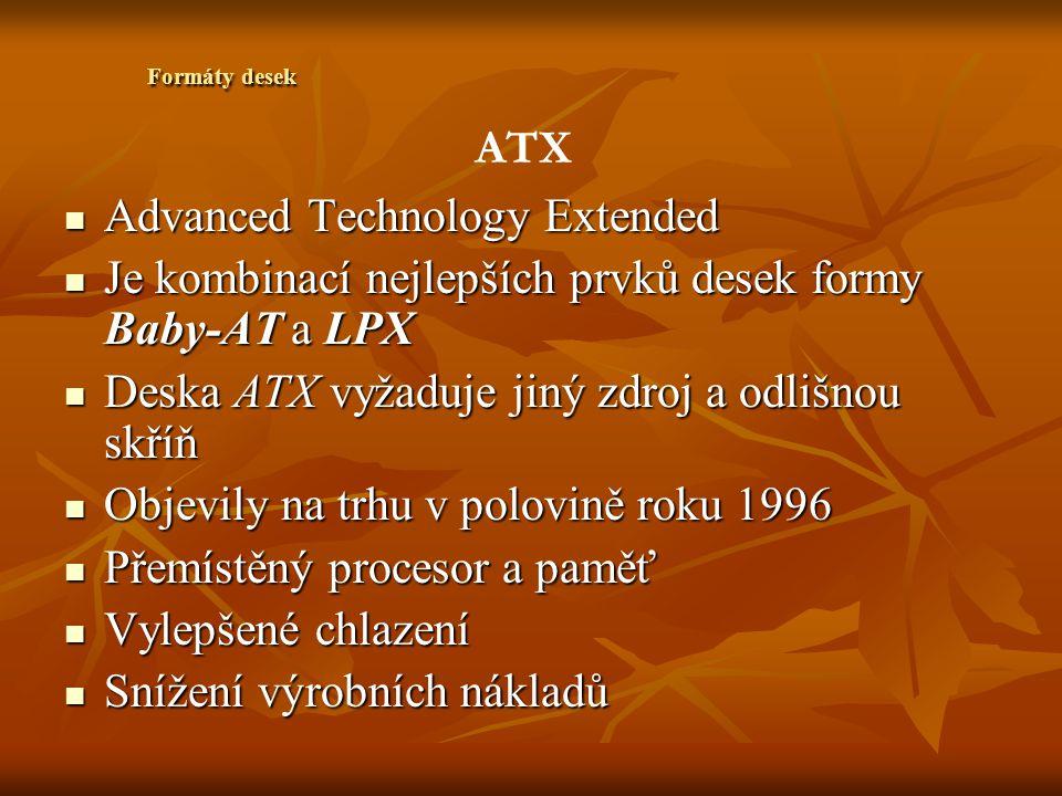 Micro-ATX Zmenšená verze desky typu ATX Zmenšená verze desky typu ATX Rozměry 244 x 244mm Rozměry 244 x 244mm Postrádají sloty pro modem AMR a pro grafickou kartu AGP Postrádají sloty pro modem AMR a pro grafickou kartu AGP Grafická a zvuková karta integrované Grafická a zvuková karta integrované Pro desky Micro - ATX se mohou použít i menší počítačové skříně Pro desky Micro - ATX se mohou použít i menší počítačové skříně Formáty desek
