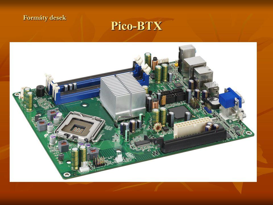 ITX Formát uveden firmou VIA Technologies v roce 2001 Formát uveden firmou VIA Technologies v roce 2001 Desky určeny především pro informační PC, web pad a další jednoduché formy počítačů Desky určeny především pro informační PC, web pad a další jednoduché formy počítačů Většinu komponent je integrována(např.