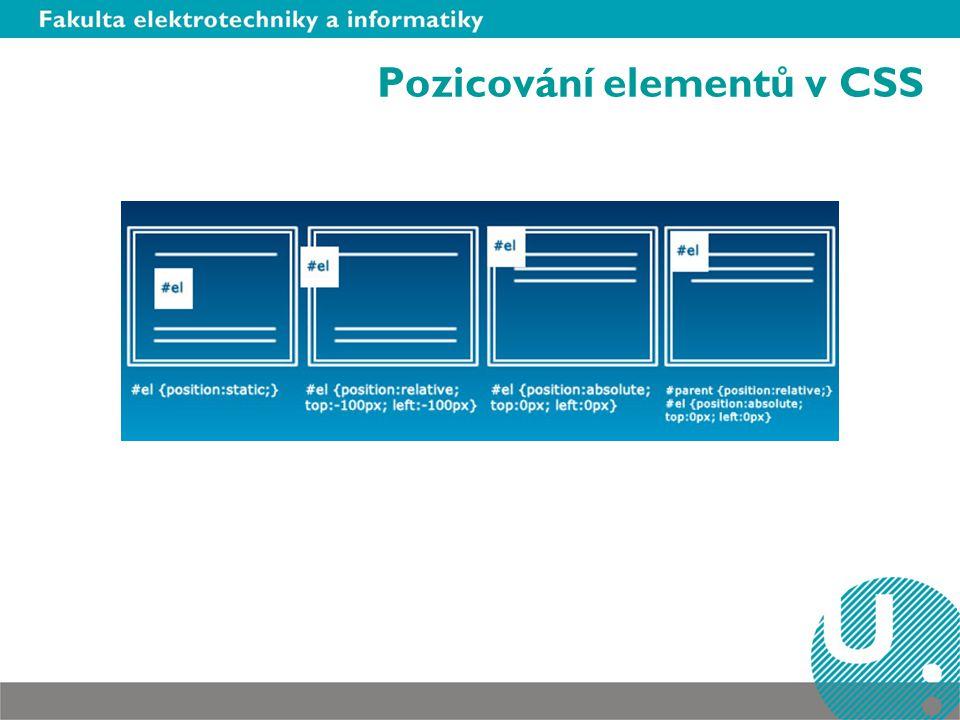 Pozicování elementů v CSS