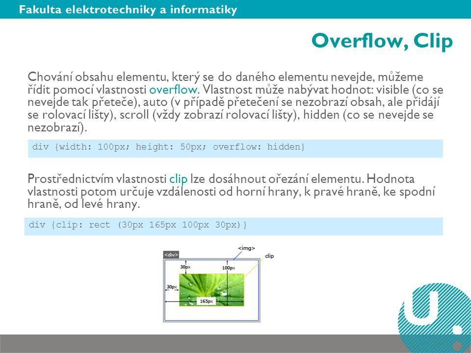 Overflow, Clip Chování obsahu elementu, který se do daného elementu nevejde, můžeme řídit pomocí vlastnosti overflow. Vlastnost může nabývat hodnot: v
