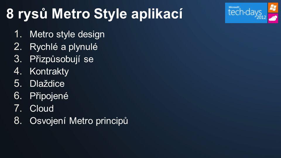 1. Metro style design 2. Rychlé a plynulé 3. Přizpůsobují se 4.