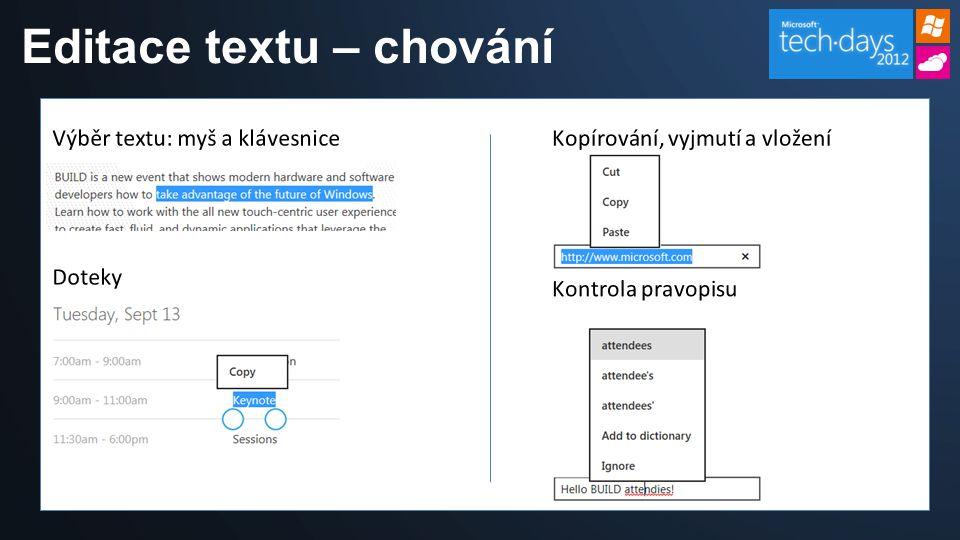 Editace textu – chování
