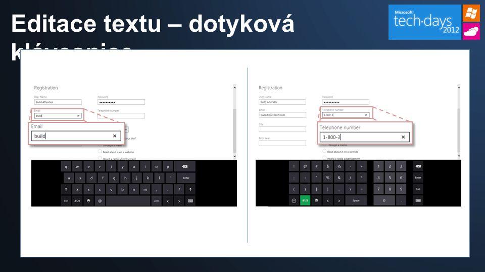 Editace textu – dotyková klávesnice