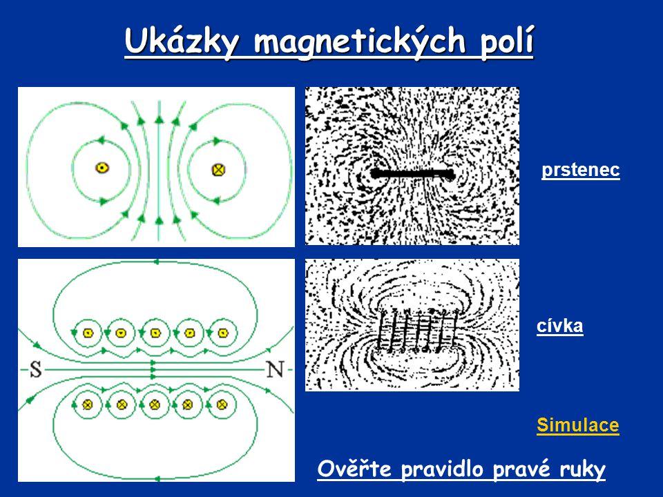 Ukázky magnetických polí prstenec cívka Simulace Ověřte pravidlo pravé ruky