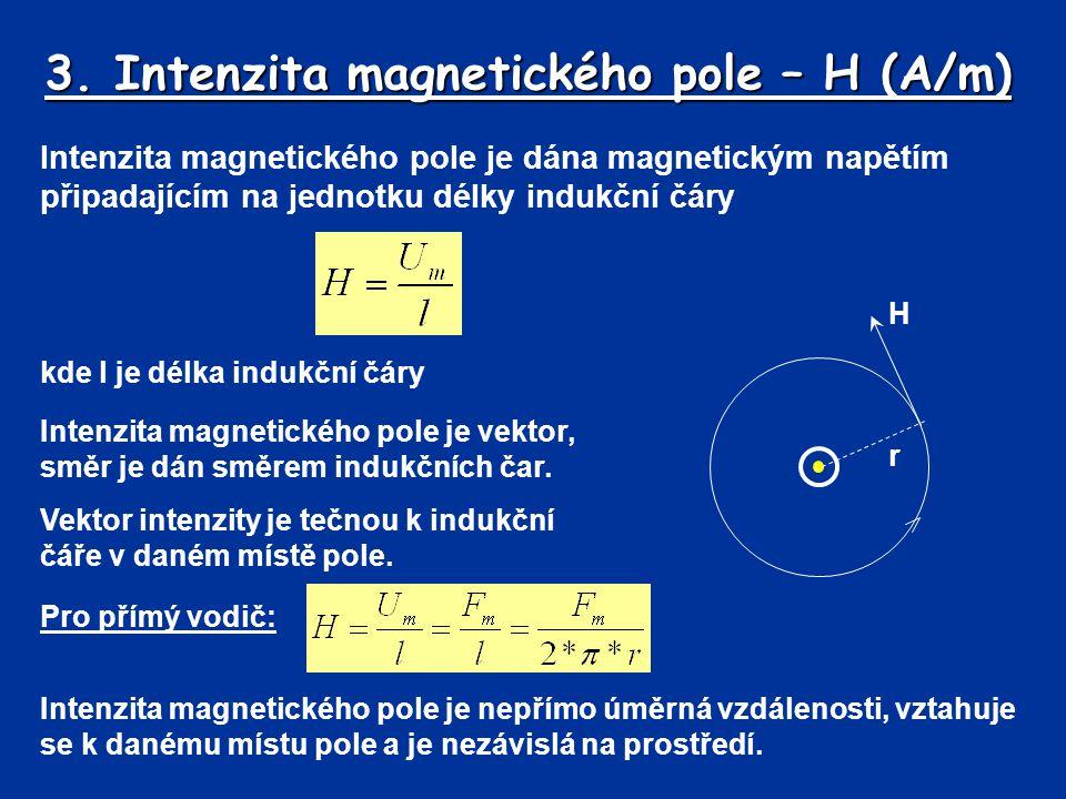 3. Intenzita magnetického pole – H (A/m) Intenzita magnetického pole je dána magnetickým napětím připadajícím na jednotku délky indukční čáry Intenzit