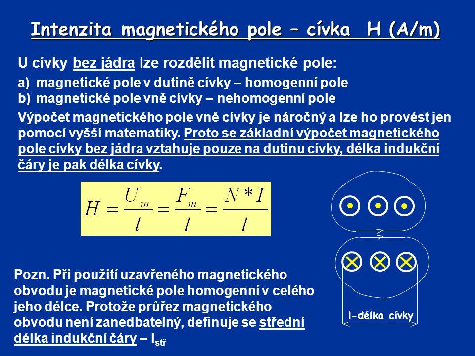 Intenzita magnetického pole – cívka H (A/m) U cívky bez jádra lze rozdělit magnetické pole: a)magnetické pole v dutině cívky – homogenní pole b)magnet