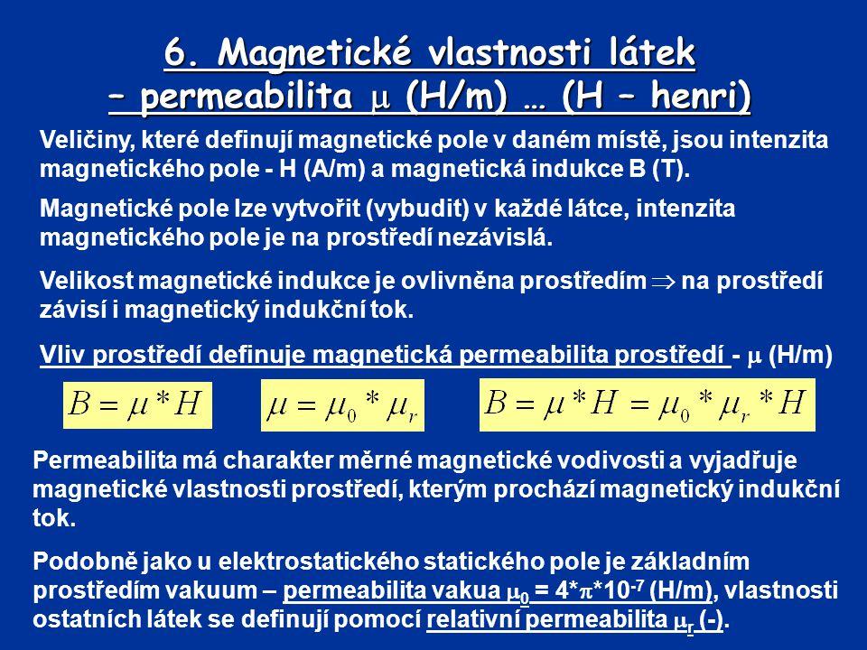 6. Magnetické vlastnosti látek – permeabilita  (H/m) … (H – henri) Veličiny, které definují magnetické pole v daném místě, jsou intenzita magnetickéh