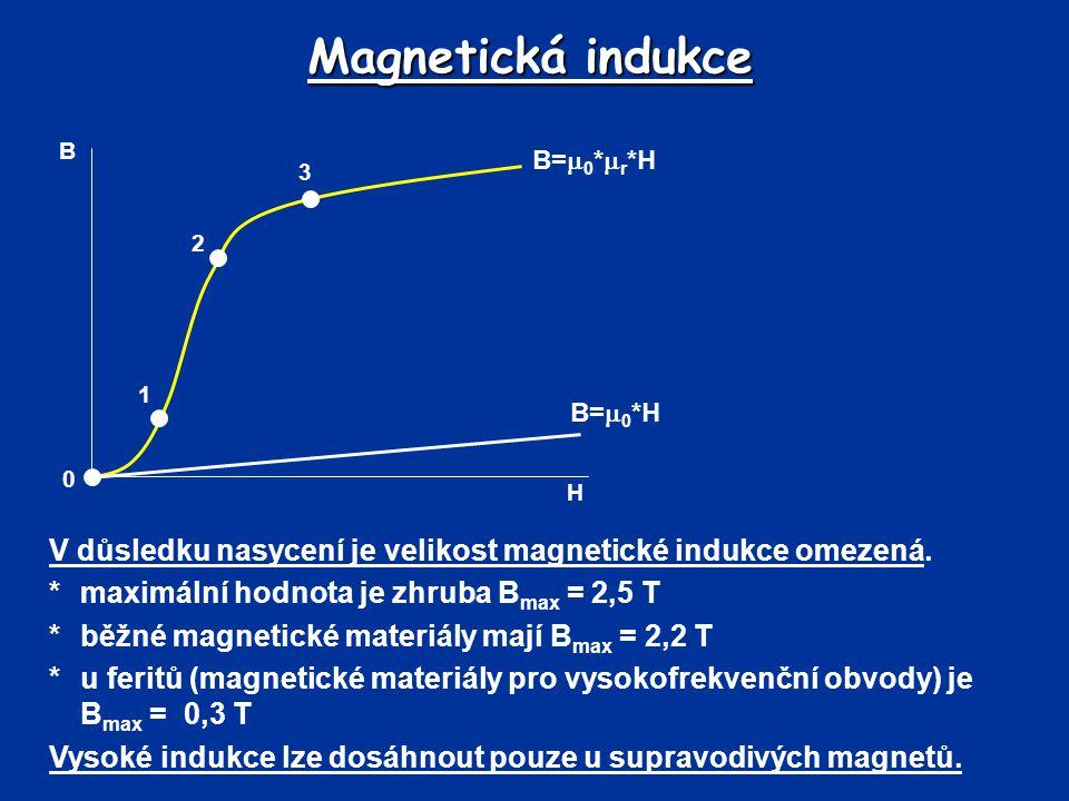 Magnetická indukce V důsledku nasycení je velikost magnetické indukce omezená. *maximální hodnota je zhruba B max = 2,5 T *běžné magnetické materiály