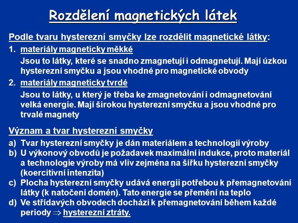 Rozdělení magnetických látek Podle tvaru hysterezní smyčky lze rozdělit magnetické látky: 1.materiály magneticky měkké Jsou to látky, které se snadno