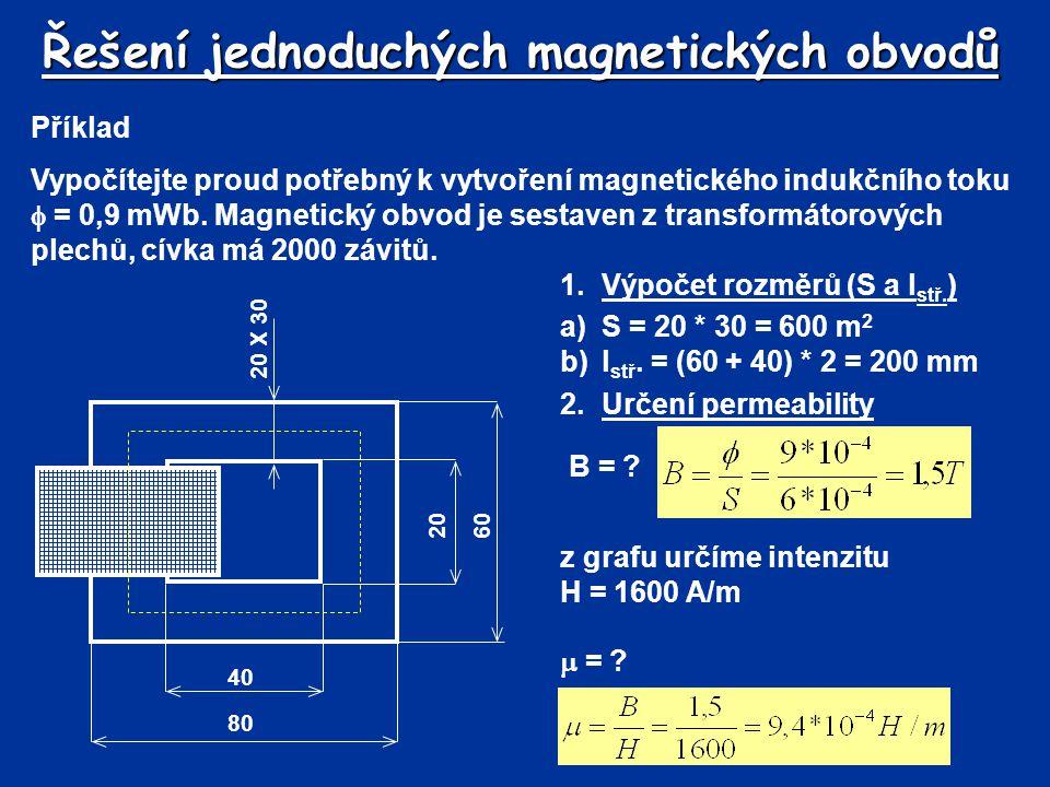Řešení jednoduchých magnetických obvodů Příklad Vypočítejte proud potřebný k vytvoření magnetického indukčního toku  = 0,9 mWb. Magnetický obvod je s
