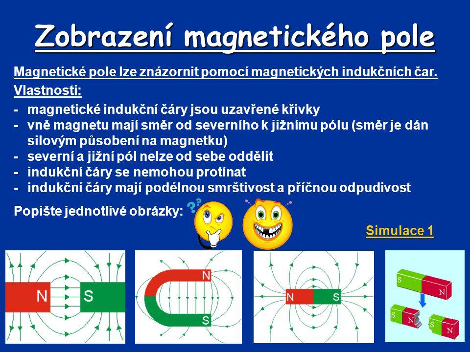 Zobrazení magnetického pole Magnetické pole lze znázornit pomocí magnetických indukčních čar. Vlastnosti: -magnetické indukční čáry jsou uzavřené křiv