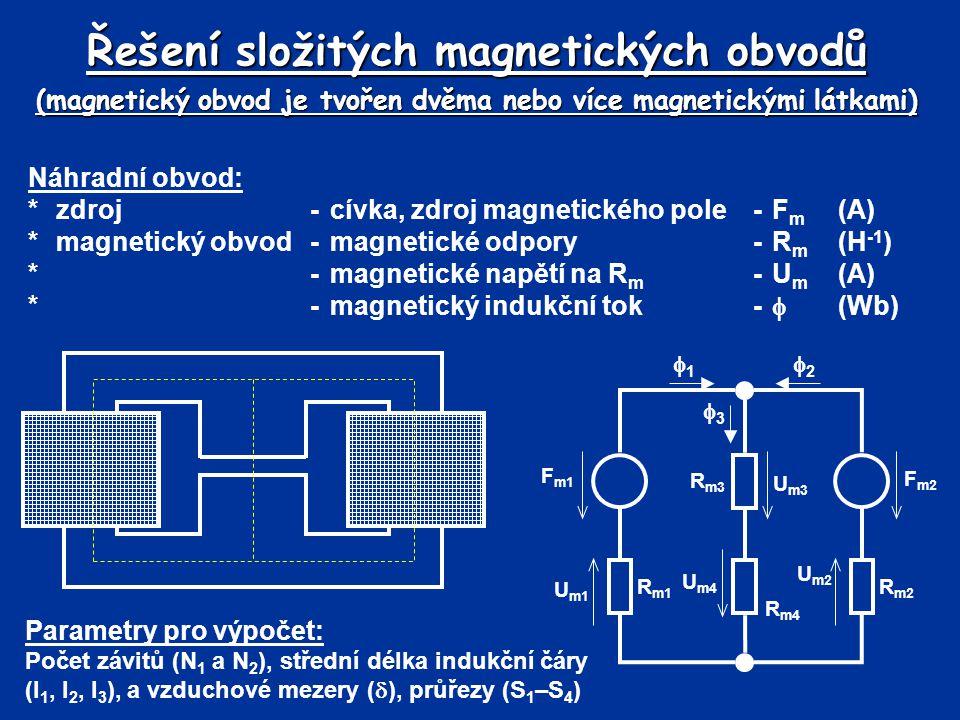 Řešení složitých magnetických obvodů (magnetický obvod je tvořen dvěma nebo více magnetickými látkami) Náhradní obvod: *zdroj-cívka, zdroj magnetickéh