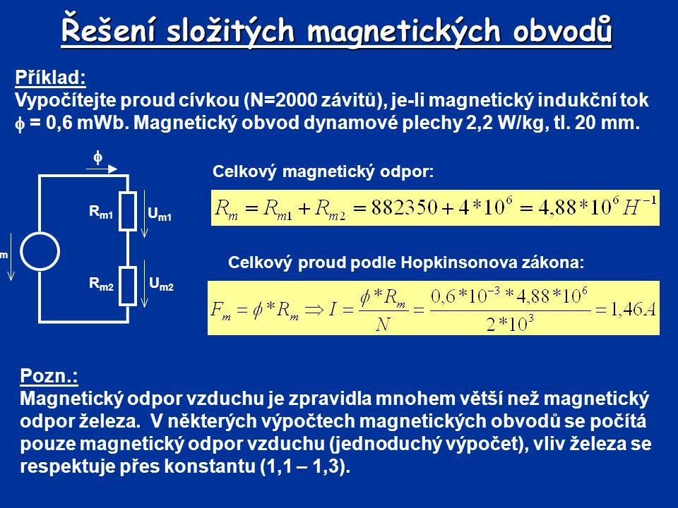 Řešení složitých magnetických obvodů Příklad: Vypočítejte proud cívkou (N=2000 závitů), je-li magnetický indukční tok  = 0,6 mWb. Magnetický obvod dy