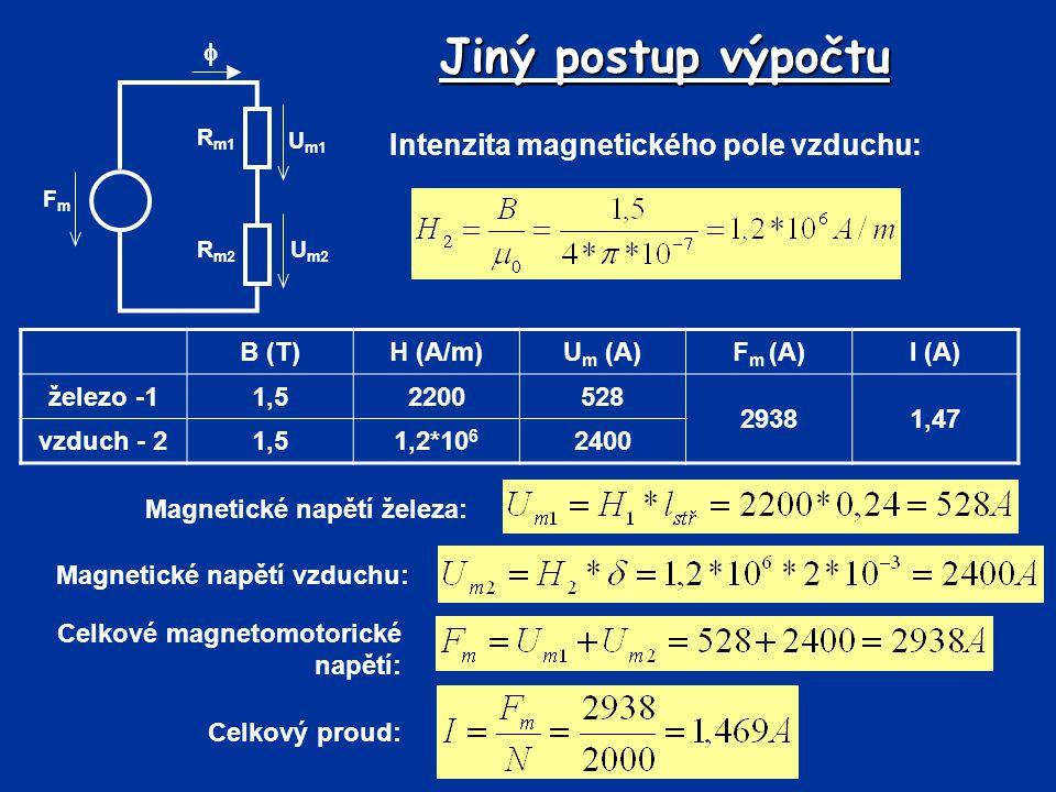 Jiný postup výpočtu FmFm R m2 R m1 U m2 U m1  Intenzita magnetického pole vzduchu: Magnetické napětí železa: B (T)H (A/m)U m (A)F m (A)I (A) železo -