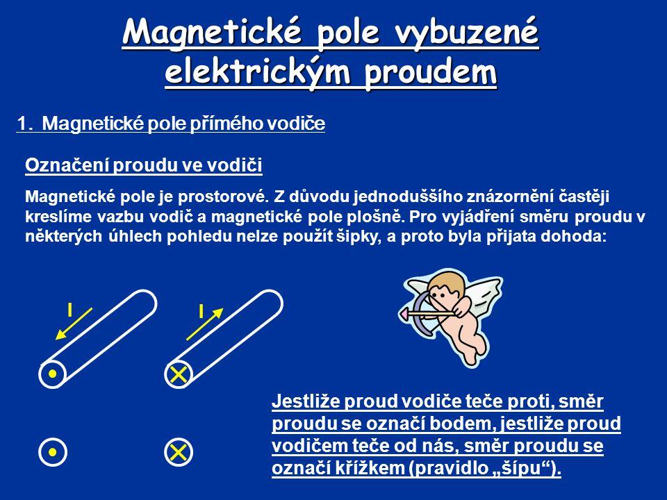 Magnetické pole vybuzené elektrickým proudem 1.Magnetické pole přímého vodiče Označení proudu ve vodiči Magnetické pole je prostorové. Z důvodu jednod