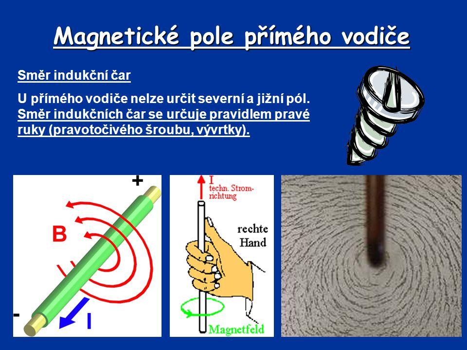 Magnetické pole přímého vodiče Směr indukční čar U přímého vodiče nelze určit severní a jižní pól. Směr indukčních čar se určuje pravidlem pravé ruky