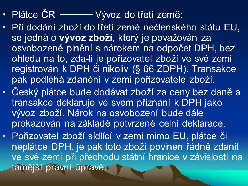 Plátce ČR Vývoz do třetí země: Při dodání zboží do třetí země nečlenského státu EU, se jedná o vývoz zboží, který je považován za osvobozené plnění s