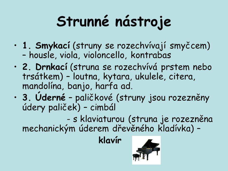 Strunné nástroje 1. Smykací (struny se rozechvívají smyčcem) – housle, viola, violoncello, kontrabas 2. Drnkací (struna se rozechvívá prstem nebo trsá