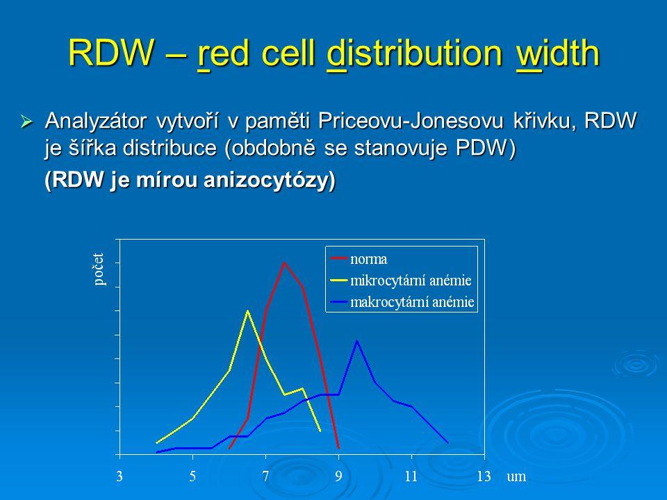 RDW – red cell distribution width  Analyzátor vytvoří v paměti Priceovu-Jonesovu křivku, RDW je šířka distribuce (obdobně se stanovuje PDW) (RDW je m