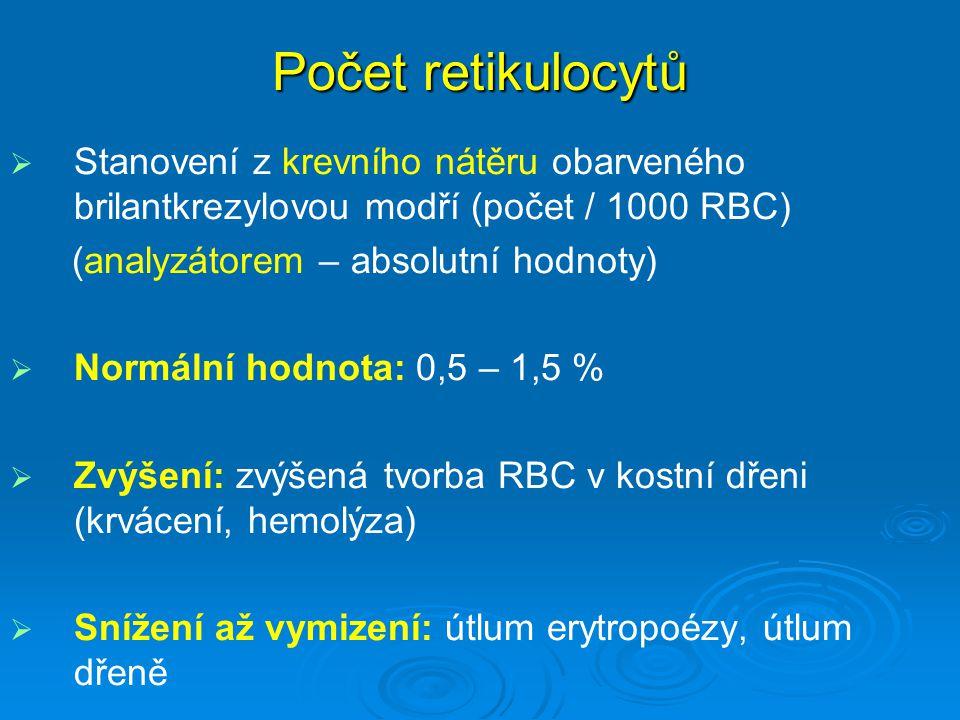 Počet retikulocytů   Stanovení z krevního nátěru obarveného brilantkrezylovou modří (počet / 1000 RBC) (analyzátorem – absolutní hodnoty)   Normál