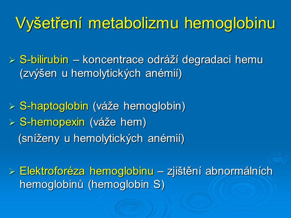 Vyšetření metabolizmu hemoglobinu  S-bilirubin – koncentrace odráží degradaci hemu (zvýšen u hemolytických anémií)  S-haptoglobin (váže hemoglobin)