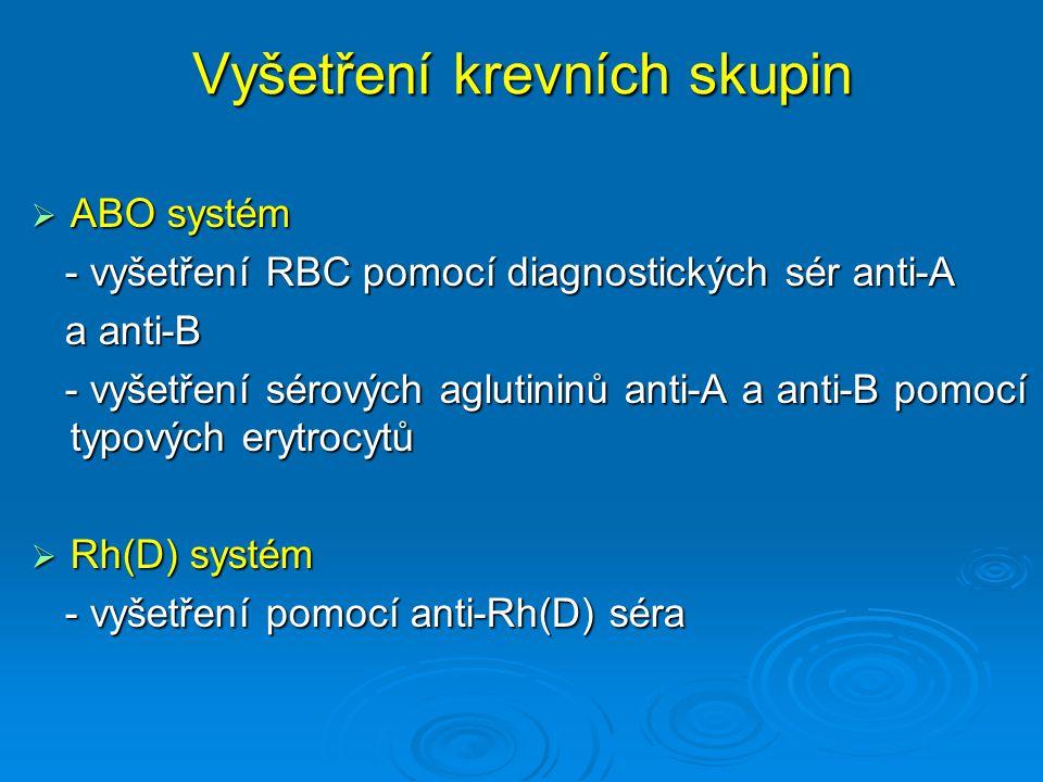 Vyšetření krevních skupin  ABO systém - vyšetření RBC pomocí diagnostických sér anti-A - vyšetření RBC pomocí diagnostických sér anti-A a anti-B a an