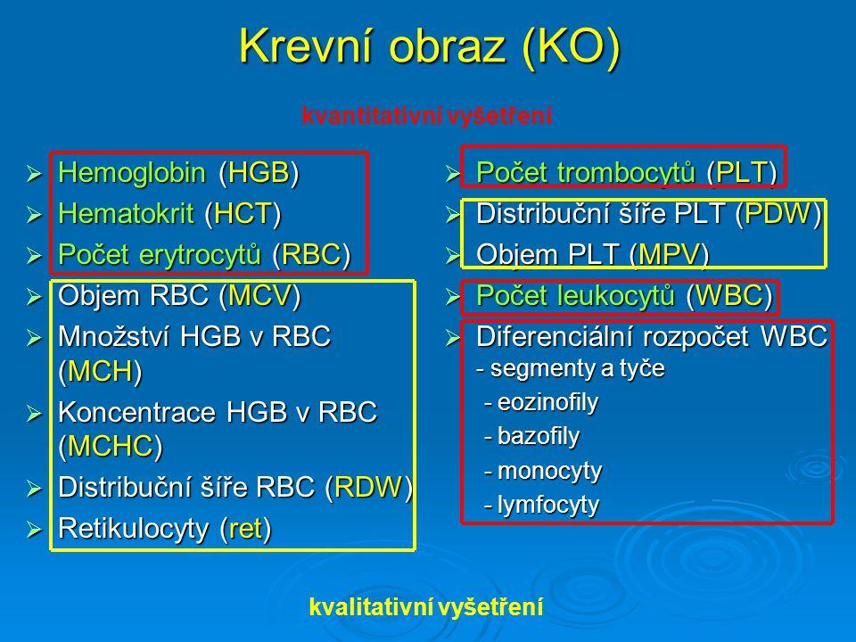 Krevní obraz (KO)  Hemoglobin (HGB)  Hematokrit (HCT)  Počet erytrocytů (RBC)  Objem RBC (MCV)  Množství HGB v RBC (MCH)  Koncentrace HGB v RBC