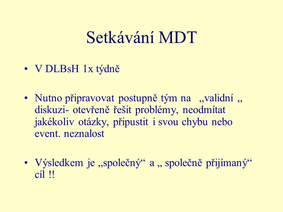"""Setkávání MDT V DLBsH 1x týdně Nutno připravovat postupně tým na """"validní """" diskuzi- otevřeně řešit problémy, neodmítat jakékoliv otázky, připustit i svou chybu nebo event."""