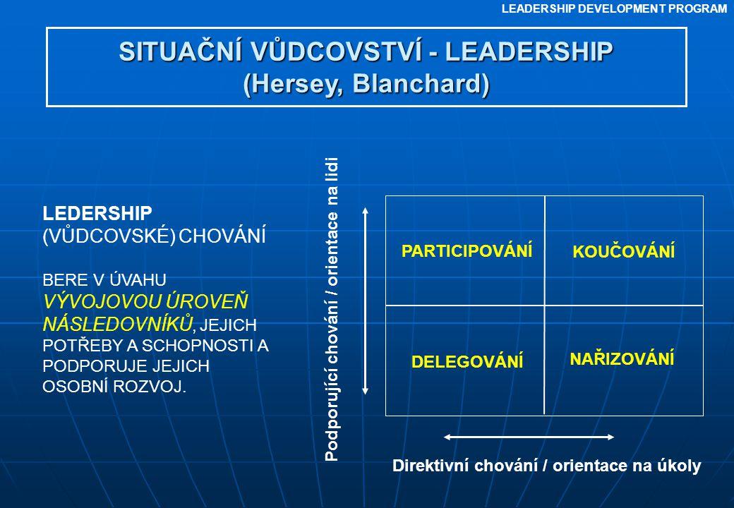 LEADERSHIP DEVELOPMENT PROGRAM SITUAČNÍ VŮDCOVSTVÍ - LEADERSHIP (Hersey, Blanchard) LEDERSHIP (VŮDCOVSKÉ) CHOVÁNÍ BERE V ÚVAHU VÝVOJOVOU ÚROVEŇ NÁSLED
