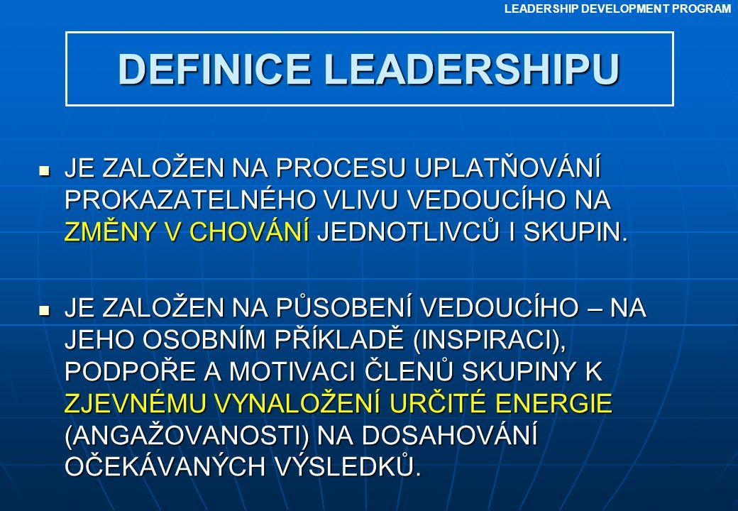 LEADERSHIP DEVELOPMENT PROGRAM DEFINICE LEADERSHIPU JE ZALOŽEN NA PROCESU UPLATŇOVÁNÍ PROKAZATELNÉHO VLIVU VEDOUCÍHO NA ZMĚNY V CHOVÁNÍ JEDNOTLIVCŮ I