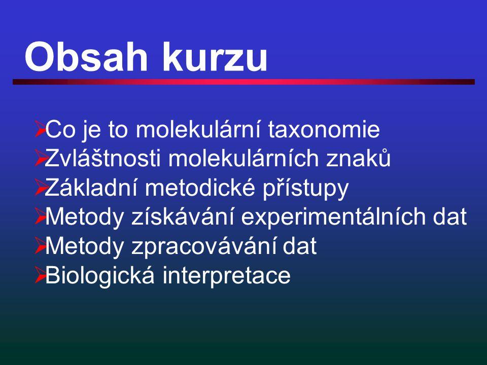 Obsah kurzu  Co je to molekulární taxonomie  Zvláštnosti molekulárních znaků  Základní metodické přístupy  Metody získávání experimentálních dat  Metody zpracovávání dat  Biologická interpretace