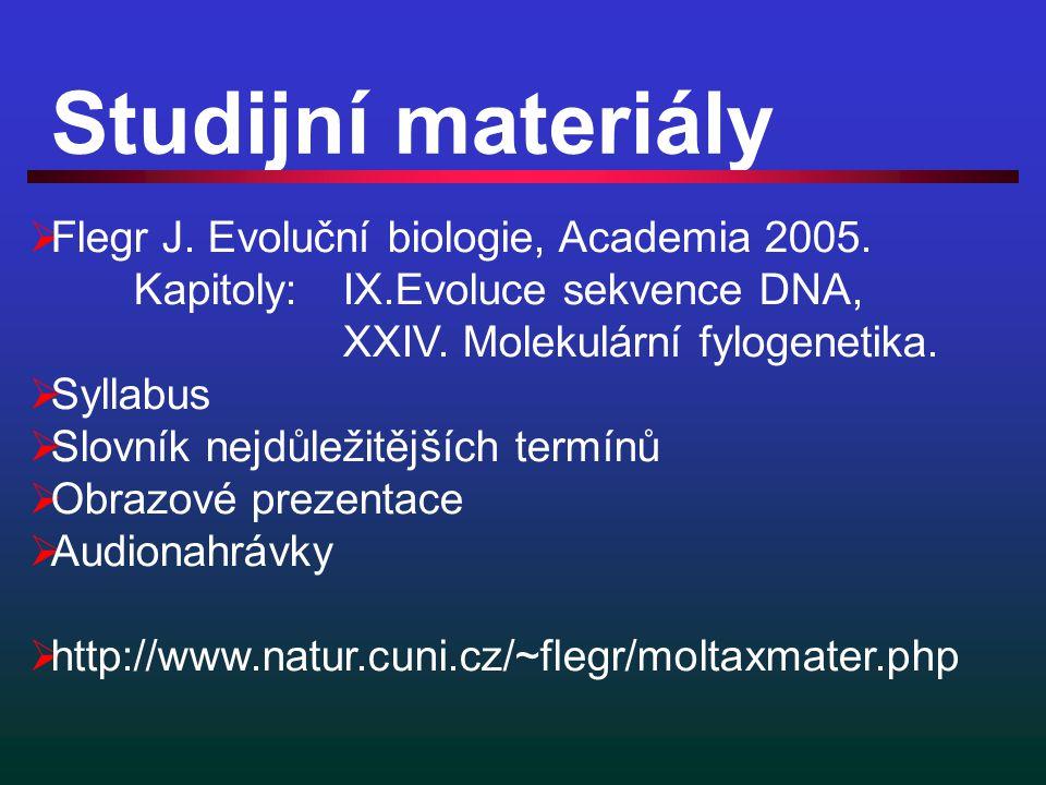 Studijní materiály  Flegr J. Evoluční biologie, Academia 2005.