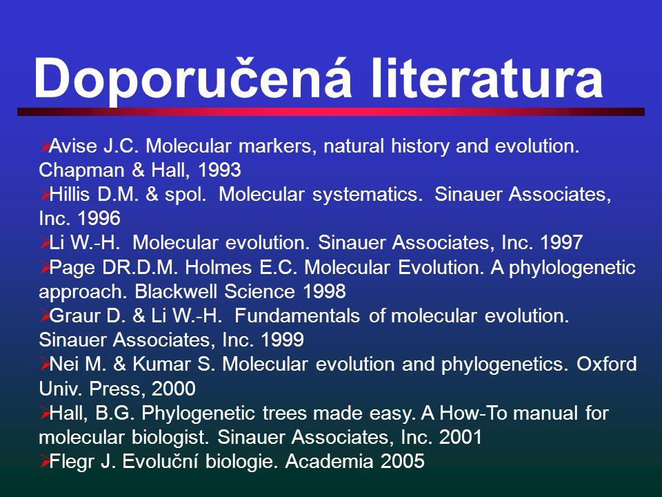 Doporučená literatura  Avise J.C. Molecular markers, natural history and evolution.