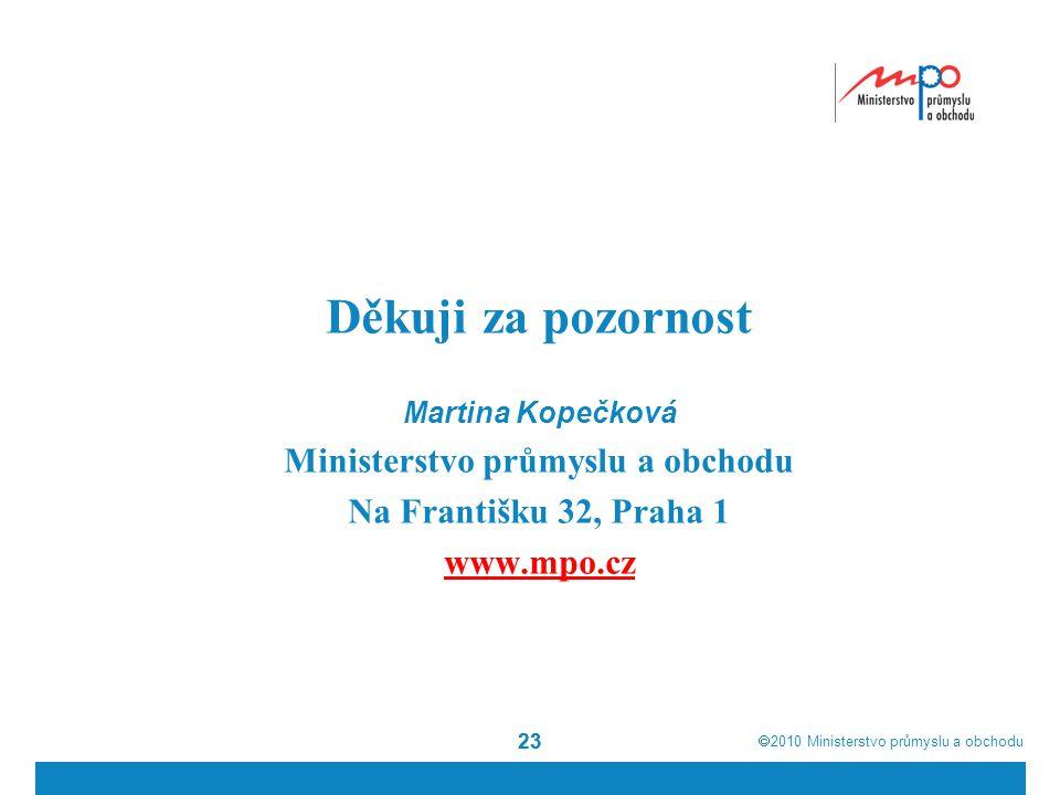  2010  Ministerstvo průmyslu a obchodu 23 Děkuji za pozornost Martina Kopečková Ministerstvo průmyslu a obchodu Na Františku 32, Praha 1 www.mpo.cz