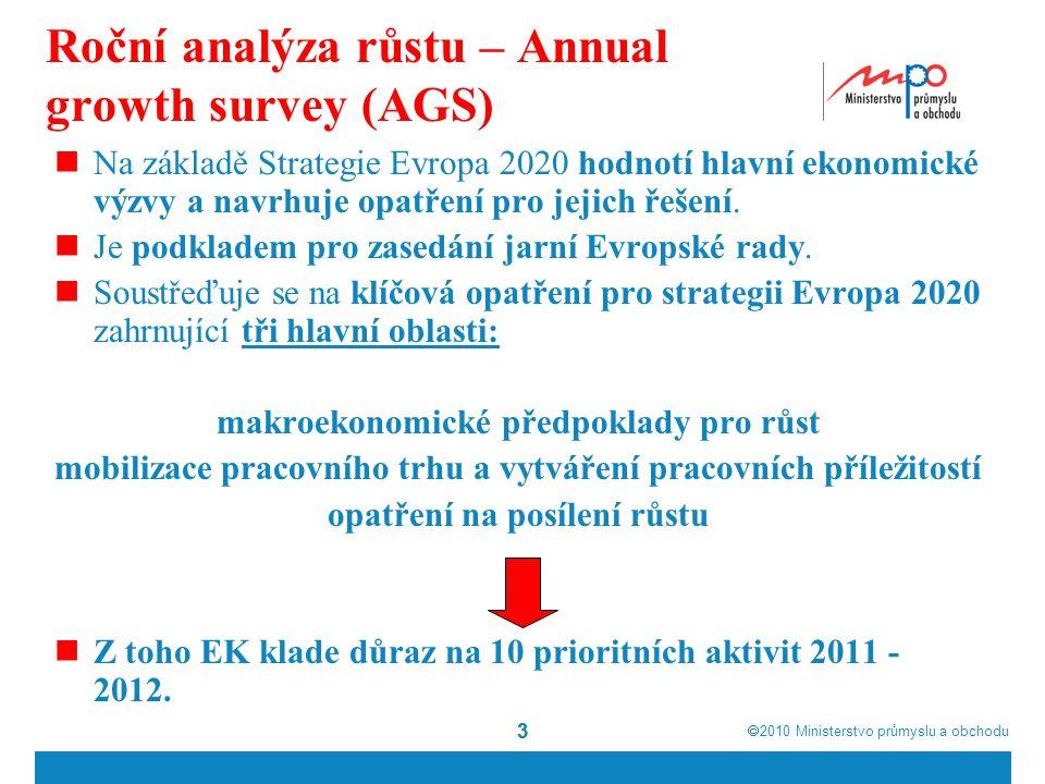  2010  Ministerstvo průmyslu a obchodu 33 Roční analýza růstu – Annual growth survey (AGS) Na základě Strategie Evropa 2020 hodnotí hlavní ekonomické výzvy a navrhuje opatření pro jejich řešení.