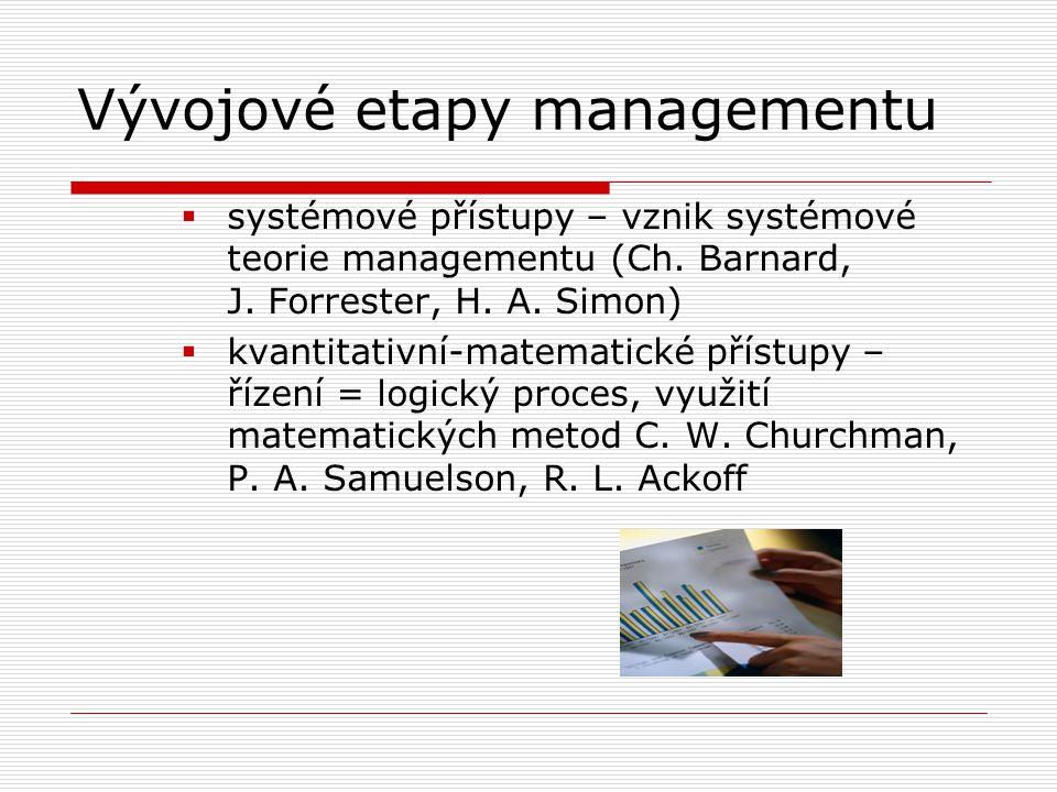 Vývojové etapy managementu  systémové přístupy – vznik systémové teorie managementu (Ch. Barnard, J. Forrester, H. A. Simon)  kvantitativní-matemati
