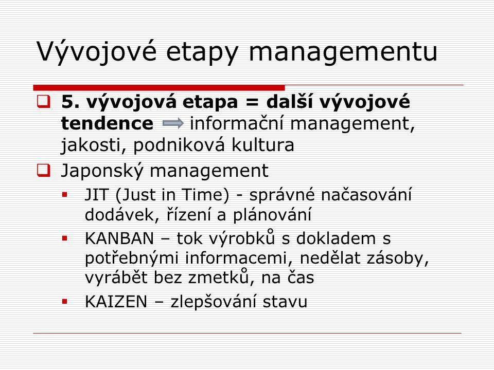 Vývojové etapy managementu  5. vývojová etapa = další vývojové tendence informační management, jakosti, podniková kultura  Japonský management  JIT
