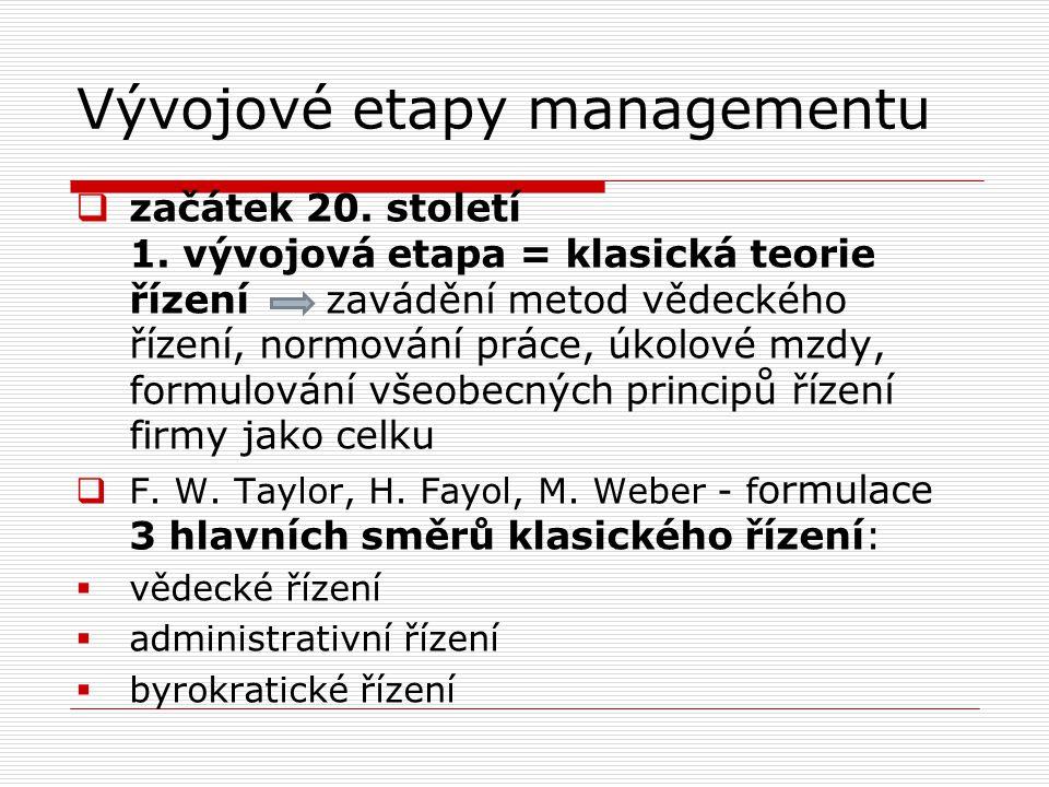 Vývojové etapy managementu  začátek 20. století 1. vývojová etapa = klasická teorie řízení zavádění metod vědeckého řízení, normování práce, úkolové