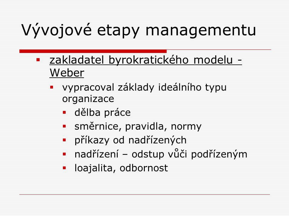 Vývojové etapy managementu  zakladatel byrokratického modelu - Weber  vypracoval základy ideálního typu organizace  dělba práce  směrnice, pravidl
