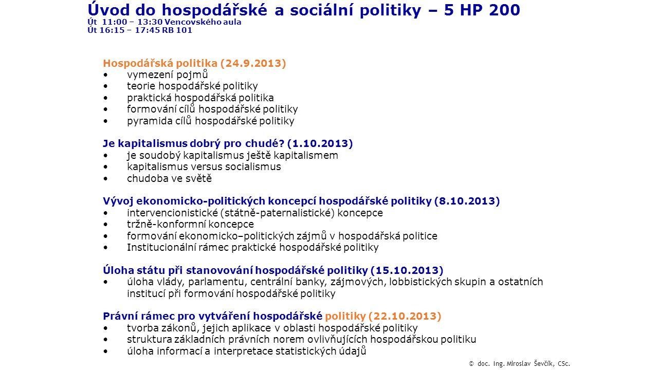 Úvod do hospodářské a sociální politiky – 5 HP 200 Út 11:00 – 13:30 Vencovského aula Út 16:15 – 17:45 RB 101 Hospodářská politika (24.9.2013) vymezení
