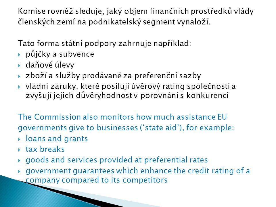 Komise rovněž sleduje, jaký objem finančních prostředků vlády členských zemí na podnikatelský segment vynaloží. Tato forma státní podpory zahrnuje nap