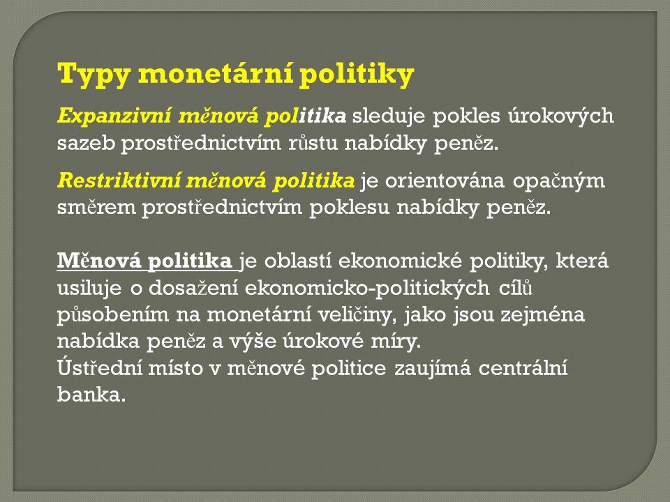 Typy monetární politiky Expanzivní měnová politika sleduje pokles úrokových sazeb prost ř ednictvím r ů stu nabídky pen ě z. Restriktivní měnová polit