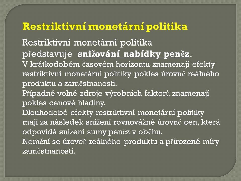 Restriktivní monetární politika Restriktivní monetární politika p ř edstavuje sni ž ování nabídky pen ě z. V krátkodobém č asovém horizontu znamenají