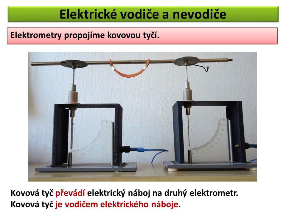 Elektrické vodiče a nevodiče Elektrometry propojíme skleněnou tyčí.