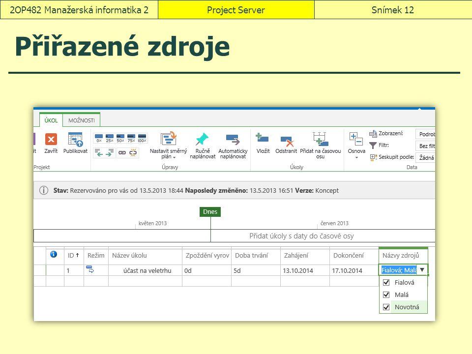 Přiřazené zdroje Project ServerSnímek 122OP482 Manažerská informatika 2